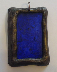 Ultramarine & antiqued bronze panel pendant