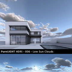PureLIGHT_HDRi_006_Low_Sun_Clouds_MS_House_B_preview copy (Ronen Bekerman) Tags: light sky cg background 360 skydome hdr hdri ibl exr