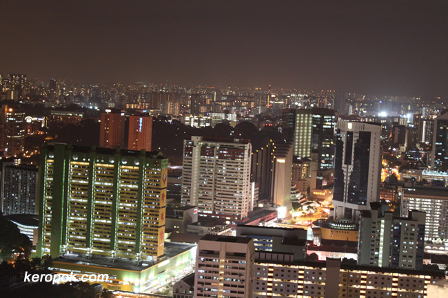 Night Scene of Singapore Chinatown from Pinnacle@Duxton