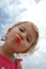 Orange lip gloss thanks to Jet Star (GaullyGirl) Tags: family sun beach australia coolangatta rainbowbay