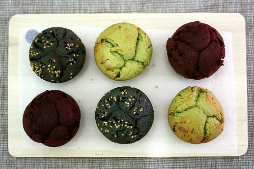 matcha or black sesame or chocolate mochi cakes enjoy