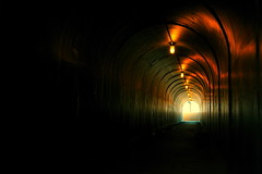 Into The Light (RLucas2009) Tags: light red orange green dark path tunnel