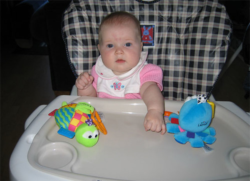 Checking out the new high chair