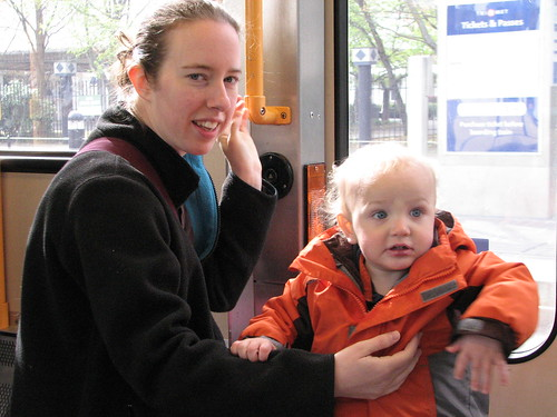 Baby and Mom riding Portland's Tri Met Train