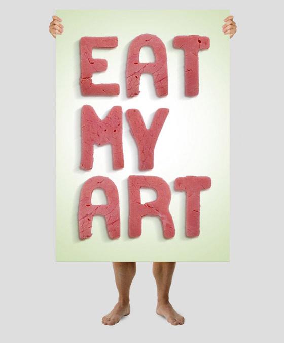 tipografías hechas de comida