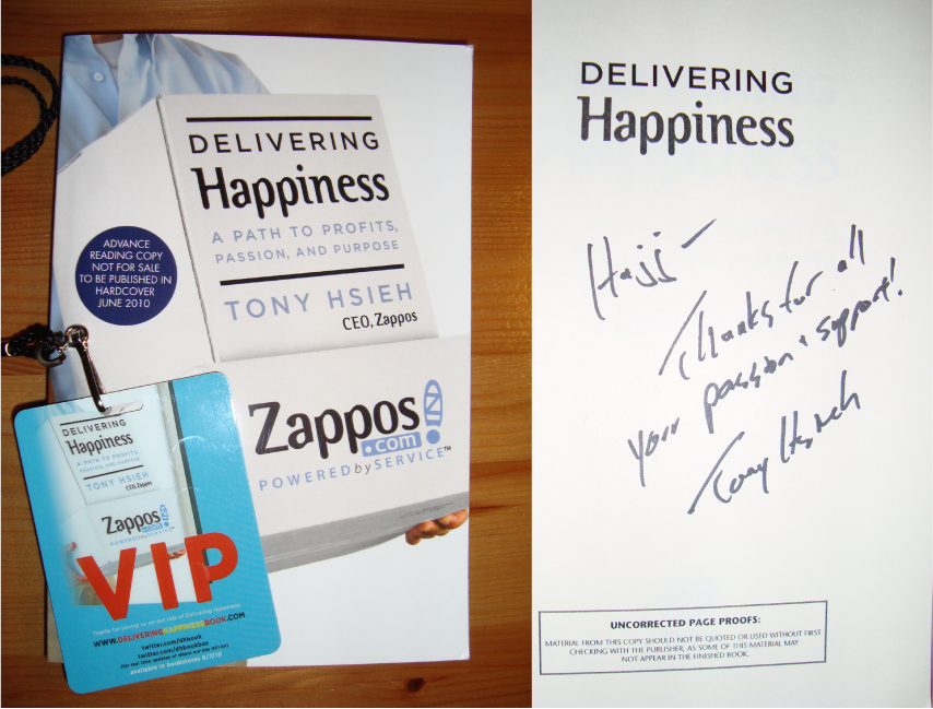 Tony Hsieh (Zappos CEO) Delivering Happiness Book to Hajj Flemings