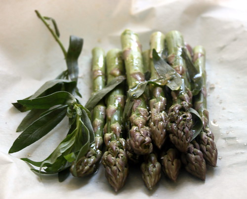 Slow Roasting Asparagus with Tarragon