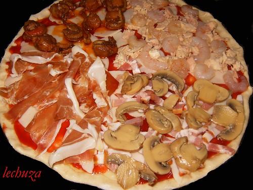 Pizza zamburiñas,atún-jamón-añadir ingredientes