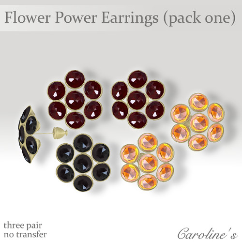 Caroline's Jewelry Flower Power Earrings Pack One