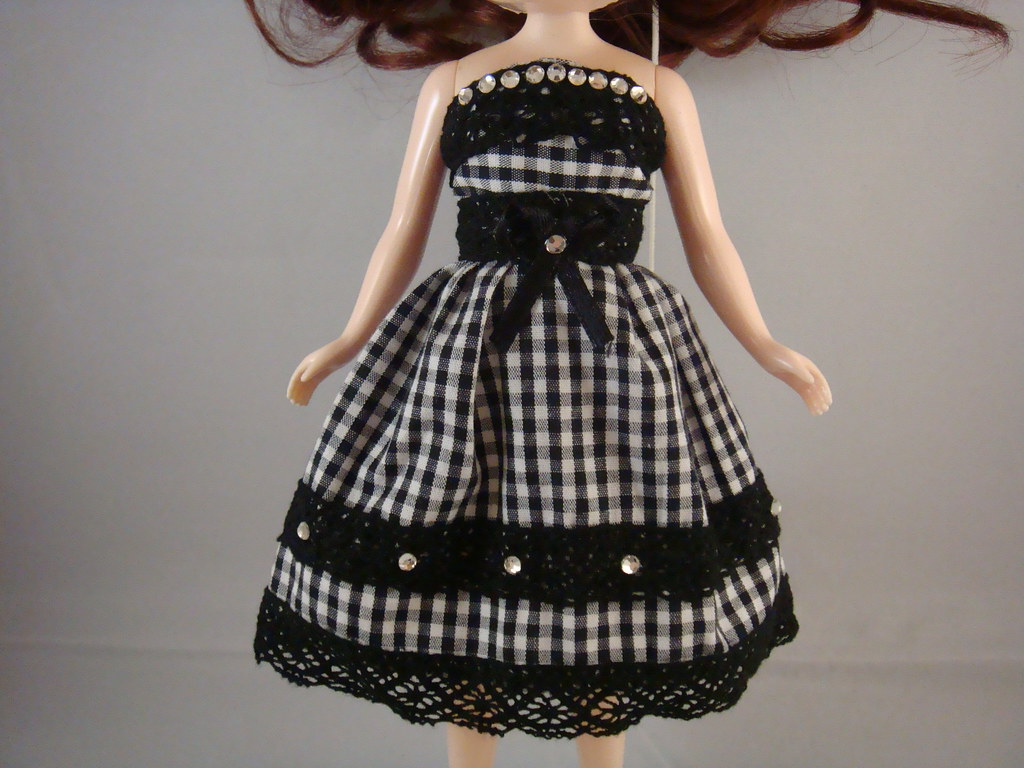 Blythe - Black Checkered Tube Top Party Dress with Rhinestones and Hair Flower Clip - BD-001