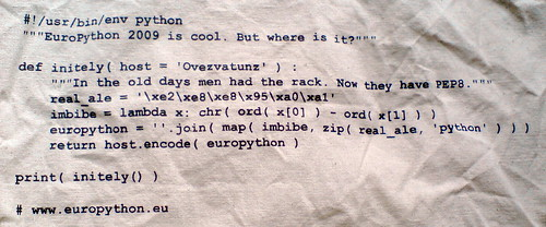 Code on the Europython 2009 bag