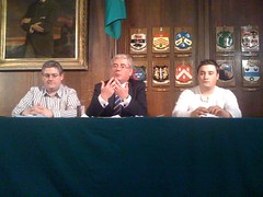 Eamon Gilmore with Gary Honer and Rory Geraghty
