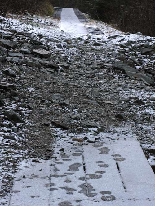 rock slide over The Flume, with new snow, Juneau, Alaska