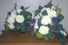 *fiona 137 pkg* a brides & adult bridesmaids scottish bouquets of roses/thistles & bling/crystals