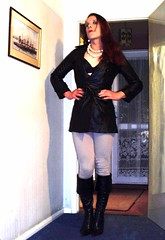 karen Chessman fashion casual in gravesend uk 1 (Karen Chessman: In Trans Umbraculis Fetish Luminis) Tags: leather fashion boots coat trench leder moden jodphurs