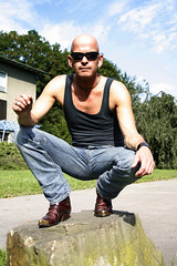 jeans and boots_1181 (picman1108) Tags: man male boots hunk crotch jeans bluejeans baldhead pointedboots
