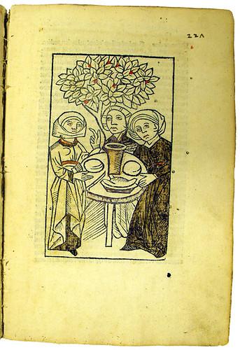 Hand-coloured woodcut and early manuscript foliation in Molitoris, Ulricus: De lamiis et phitonicis mulieribus