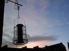 sunset sky food silhouette mobile moblog rooftops glasgow bracket birdfeeder feeder pulley tenement tenements shawlands