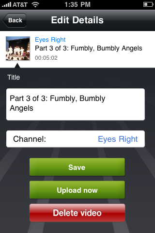 After editing title information on Ustream Recorder for iPhone