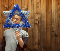 Star of Me (CarbonNYC [in SF!]) Tags: me portrait goofy david star starofdavid blue white chanukah chanukahdecor quirky posed hanukkah hanukkahdecor selfportrait judaism jewish face woodfence funny carbonnyc carbonnycme carbonnycmeprimecut carbonprimecut carbonsf