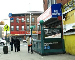 Rockaway Avenue Subway Station, Brooklyn, New York City (jag9889) Tags: county street nyc people ny newyork building bus green art station brooklyn subway advertising graffiti store globe mural board entrance stop kings mta borough liquors aline duplicity fultonstreet juliaroberts eastnewyork cline cliveowen rockawayavenue y2009 jag9889