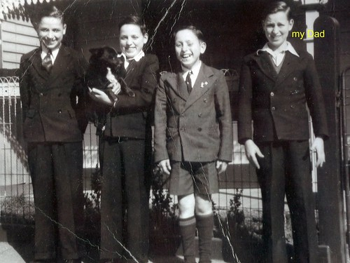Dad on the far right with his brothers Fred, Ron and Kevin outside their house in Kelso St, Richmond