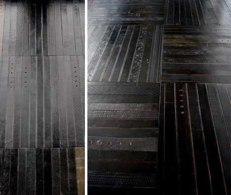Leather Belts Recycled Into Flooring