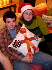 Orange explosion patchwork pillow