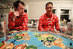 monkey settlers (sgoralnick) Tags: ny game farmhouse chad upstate upstateny newyears boardgame paulfrank marty pajamas settlersofcatan partyhouse seafarers matchingpajamas monkeyprint