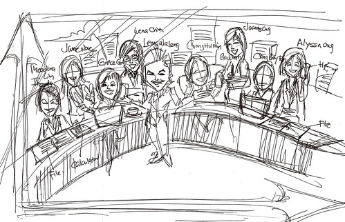 group lady caricatures for Morgan Stanley - draft 1