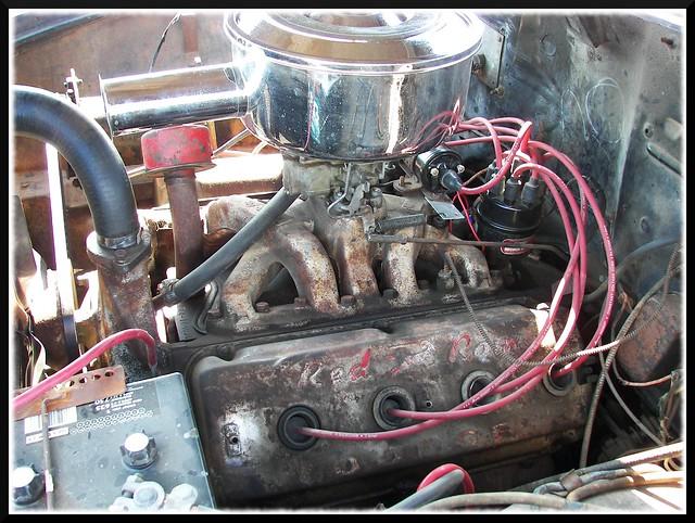 auto old red classic car vintage inch fifties engine american dodge motor hemi chrysler mopar ram v8 1953 cubic 241