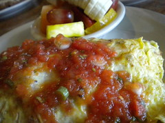 Eggs for Breakfast (earthdog) Tags: food fruit breakfast sanjose plate banana eggs salsa edible grape omelet 2010 billscafe billscaferosegarden needscamera needslens