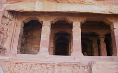 A Dwarapala Guards the Shiva Cave (Nagarjun) Tags: chalukya rockcut badamicaves