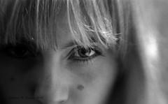 Window (andrewrennie) Tags: portrait bw woman white black eye window girl beautiful face closeup hair blackwhite eyes nikon gemma stare d40 nikond40