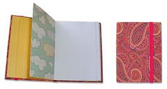 Encadernao Caderninho Scrap (LeticiaMartins) Tags: pink clouds paper notebook handmade rosa amarelo nuvens papel bookbinding caderno estampa tecido listras encadernao elstico