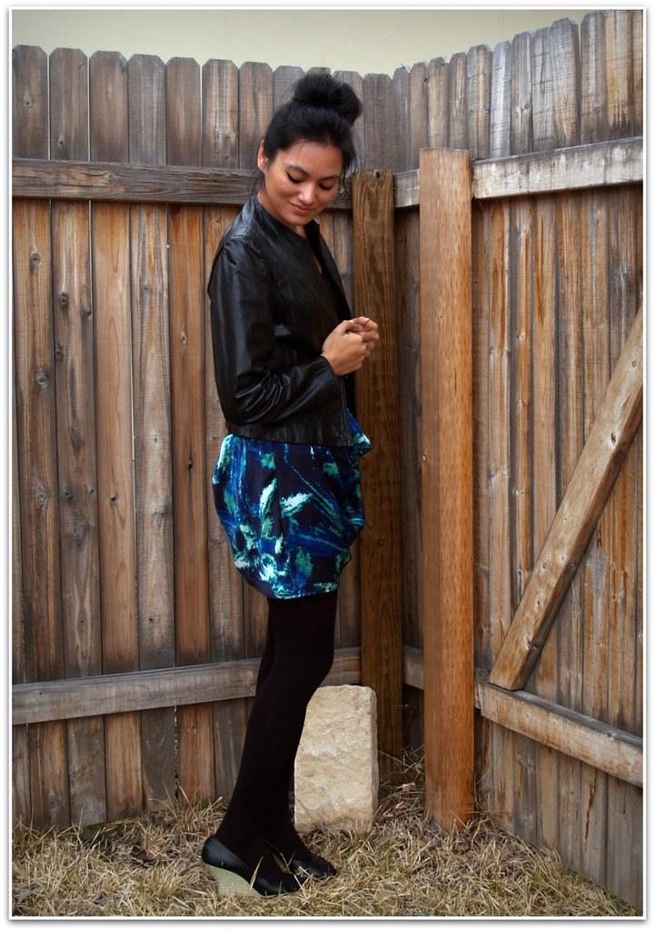 skirt + leather coat