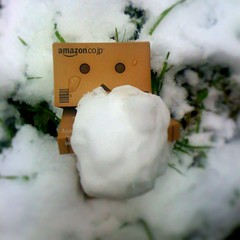 Help!....I'm snowed in! (Cherrybomb Ink) Tags: uk snow green london grass garden outdoors cherrybomb danbo amazoncojp funphotography toyfigures iphone3g bestcamera iphonephotography danboard cherrybombink tiltshiftgenerator