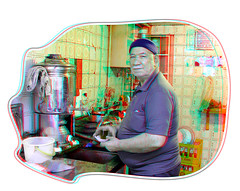 Poor cafe'_Anaglyph 3d picture: You need Red/Cyan glasses   (Shahrokh Dabiri) Tags: man 3d cafe village iran tea poor stereo resturant depth stereography boiler  mashad  torghabeh  fancyframe   cutoutframe cheapresturant