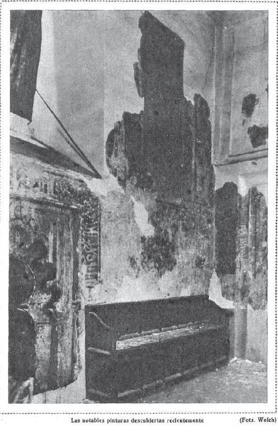 Pinturas descubiertas en la Iglesia de San Román en 1930. Foto de Wolch para Mundo Gráfico