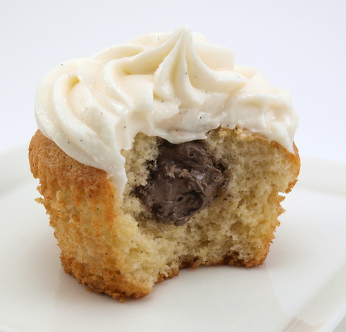 Chocolate Cream Filled Vanilla Bean Cupcakes