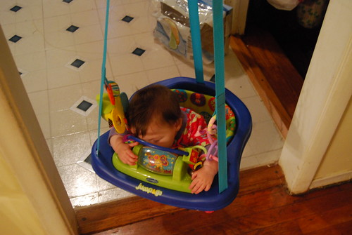 Sleeping in the jumperoo
