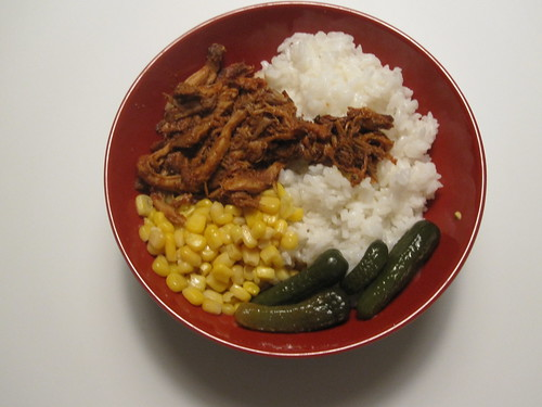 Pulled pork, rice, pickles, corn