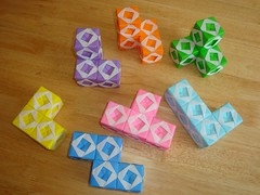 Origami Sonobe Soma pieces- (Modular Origami) (Origami Tatsujin 折り紙) Tags: art colors paperart origami geometry puzzle sonicboom soma multicolored papiroflexia papercraft polyhedra modularorigami sonobe geometricbeauty geometricart somacube colorfulart sonobemodule somapuzzle modualrorigami