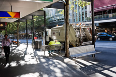 The Unbearable Lightness of Melbourne's garbage collectors (mouzhik) Tags: canon eos40d  moujik mouzhik muzhik zemzem australia australie melbourne theunbearablelightnessofbeing zola milankundera boueur linsoutenablelgretdeltre summer luttedesclasses t classstruggle klassenkampf luchadeclases sommer city cbd milezola dustman garbagecollector mllmann binman mllarbeiter garbageman mllfahrer trashcollector virela gardela gardela2 virela2 virela3 virela4 virela5 virela6 virela7 virela8 virela10