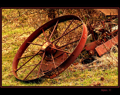 When The Wheel Falls Off. (Picture post.) Tags: color green nature wheel rust 1001nights legacy farmmachinery otw coth brokenmachine mywinners spiritofphotography flickrvault 1001nightsmagiccity