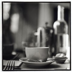 Morning fix (Suguru Nishioka) Tags: morning bw 6x6 film coffee square cafe bokeh frenchpress steam grains hayesvalley nocrop waterbottle bestthingintheworld saturdaybrunch darkroomprint ilfordmgivfb tabletoppals nogearinfo