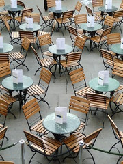 Covent Garden Cafe (Tracey Paterson) Tags: england food abstract london thames cafe pattern chairs tables coventgarden