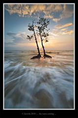 ... wave is coming close ... (liewwk - www.liewwkphoto.com) Tags: ocean sunset sun water set landscape coast seaside sand view salt surface malaysia beast  selangor  banting  pantaikelanang   liewwk wwwliewwkphotocom