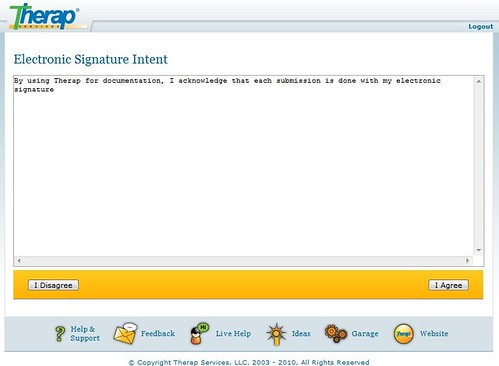 Screenshot of Electronic Signature Intent