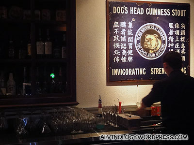 Quirky signboard at the bar counter